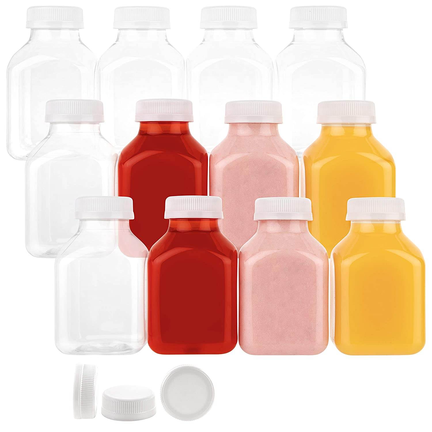 Disposable Plastic Juice Bottles-8 Oz with Lids | 12 Pack | for Water, Orange Apple Lemon Juicing, Smoothies, Milk, Reusable, BPA Free, Tamper-Proof Caps, Catering, Takeout