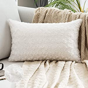 MIULEE Decorative Throw Pillow Covers Luxury Faux Fuzzy Fur Super Soft Cushion Pillow Case Decor White Cases for Couch Sofa Bedroom Decoration 12 x 20 Inch 30 x 50 cm