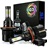 JDM ASTAR G2 8000 Lumens Extremely Bright CSP Chipsets H13 9008 LED Headlight Bulbs Conversion Kit for Fog light, DRL and Headlights, Xenon White