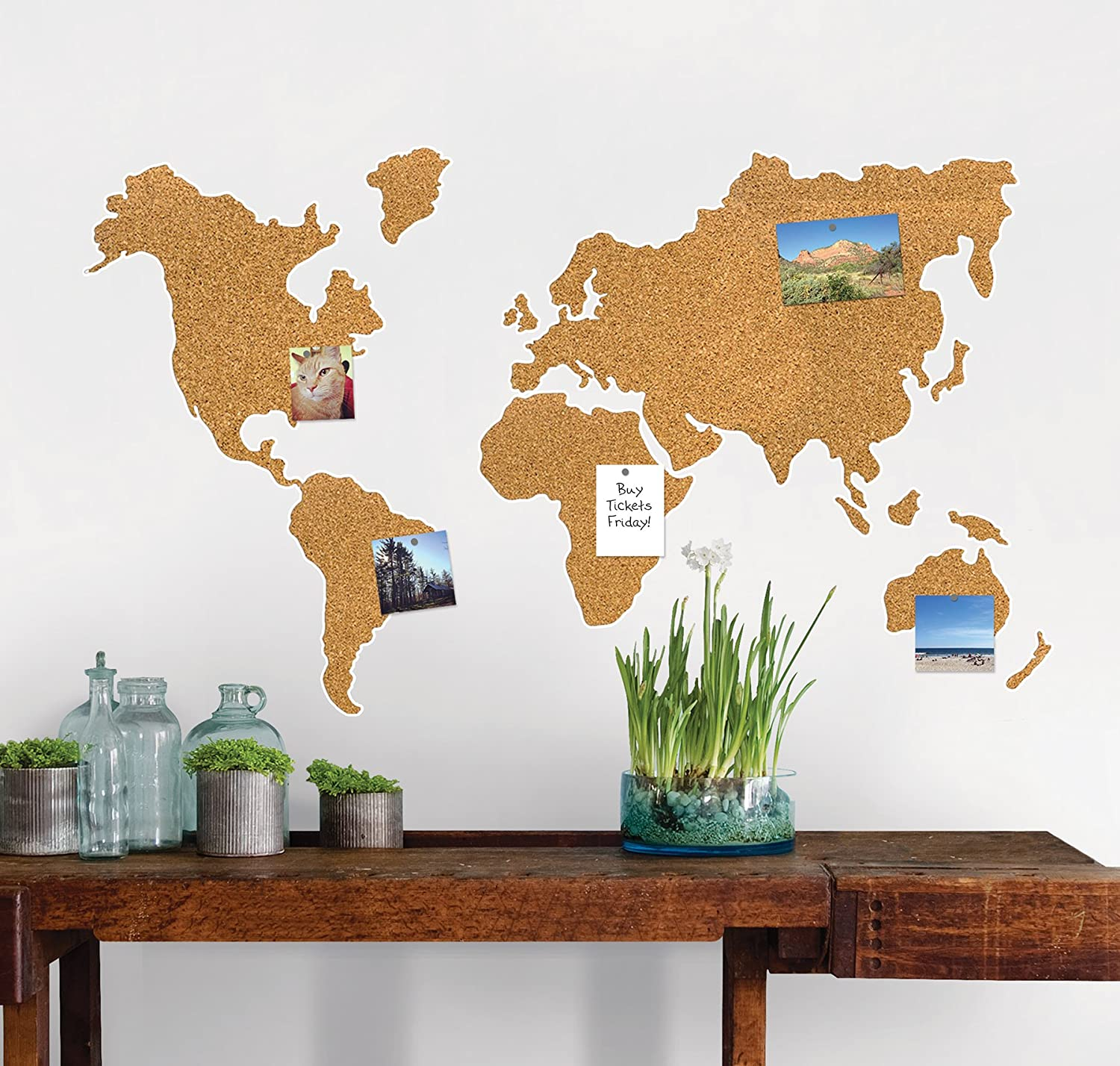 Wall pops wpe1941 cork map pinboard tan amazon gumiabroncs Images