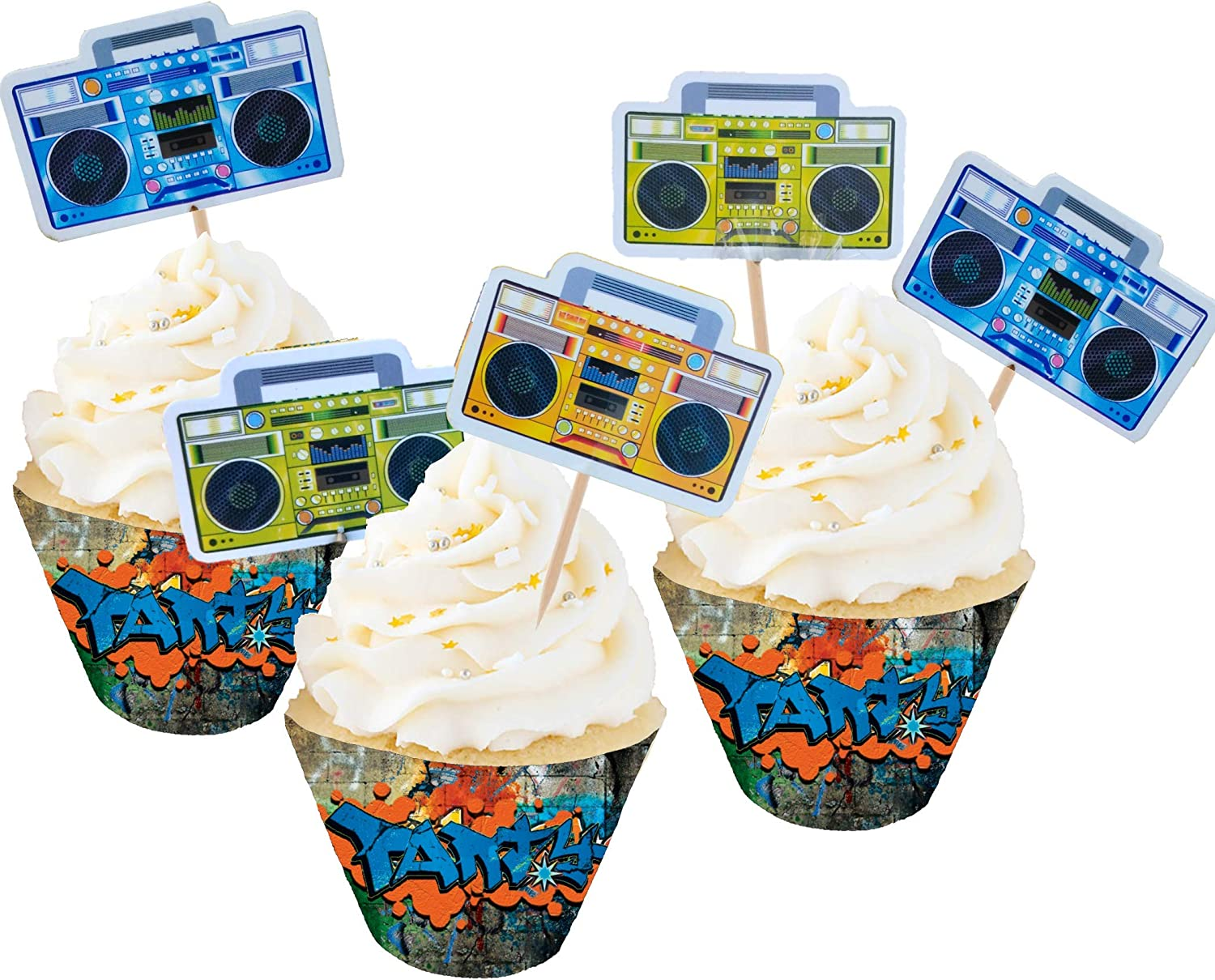 Party Drop Box BoomBox Graffiti Wall Cupcake Decorations Party Favors Toppers Wrappers