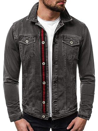 b18e56a9a1c2 OZONEE Mix Herren Jeansjacke Übergangsjacke Jacke Denim Sweats Sweatjacke Frühlingsjacke  Jeans Jacke Modern Sportswear Casual Slim-Fit Vintage B 5002X  ...