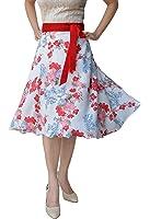 DeeVineeTi Floral Print Women's Wrap Around Skirt, White & Red, FreeSize