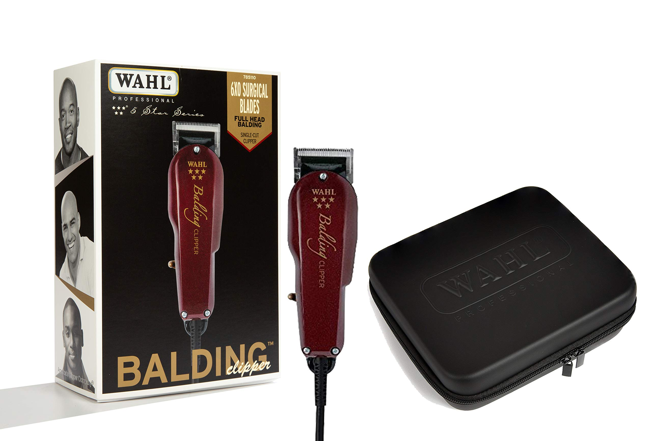 Wahl Professional 5-Star Balding Clipper 8110 with Travel Storage Case 90732 Designed for Barbers and Stylists by Zomma
