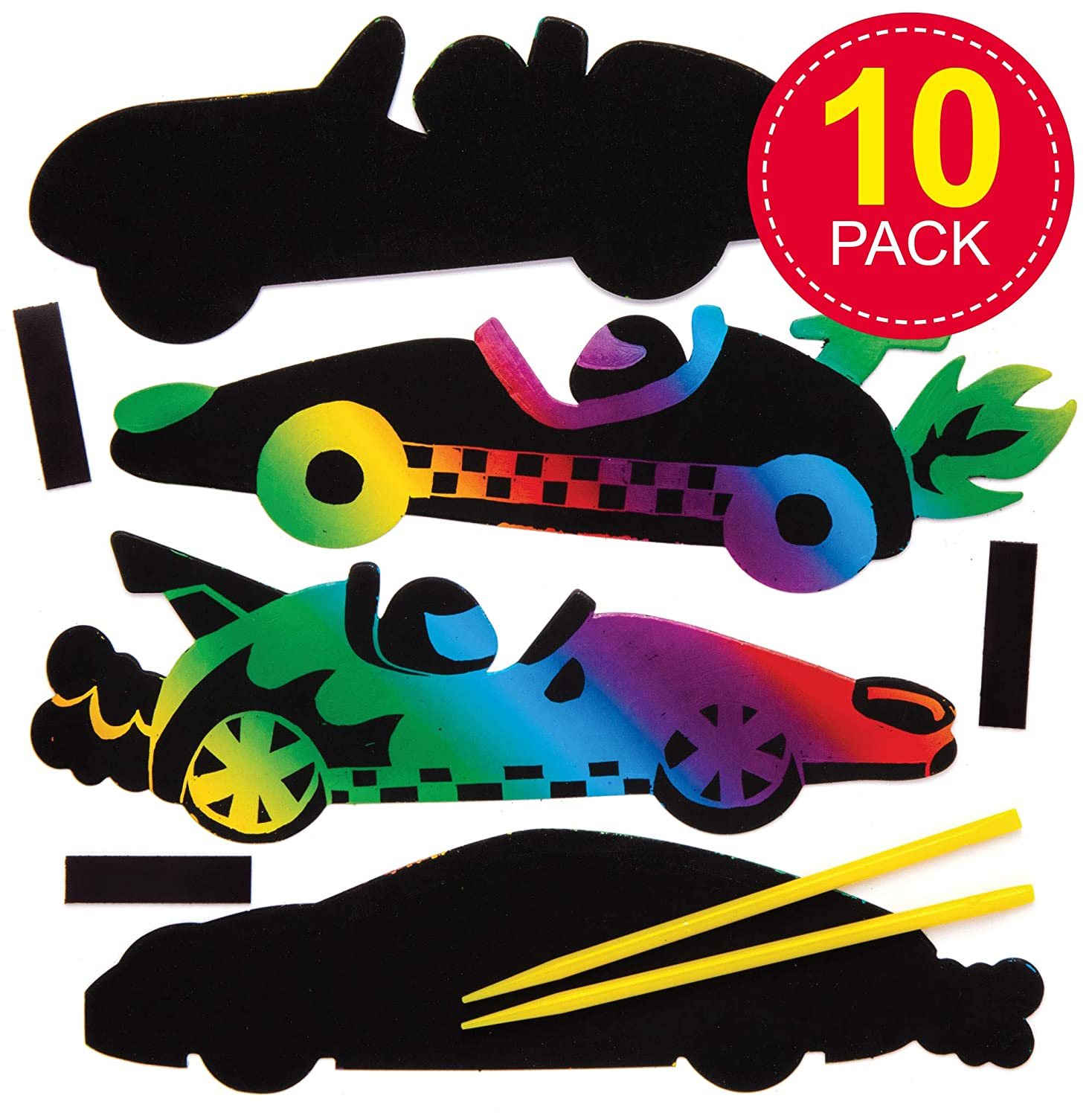 10 Pack Creative Art and Craft Supplies for Kids to Make and Decorate Assorted Baker Ross Bug Wooden Magnets AT610