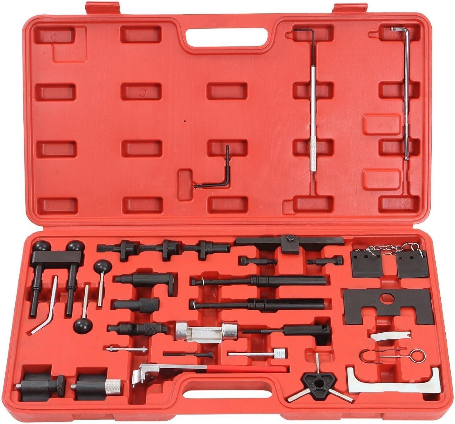 LARS360 - Herramientas de ajuste de motor, correa de distribución, para Audi, Volkswagen, de acero de carbono resistente, en maletín de herramientas