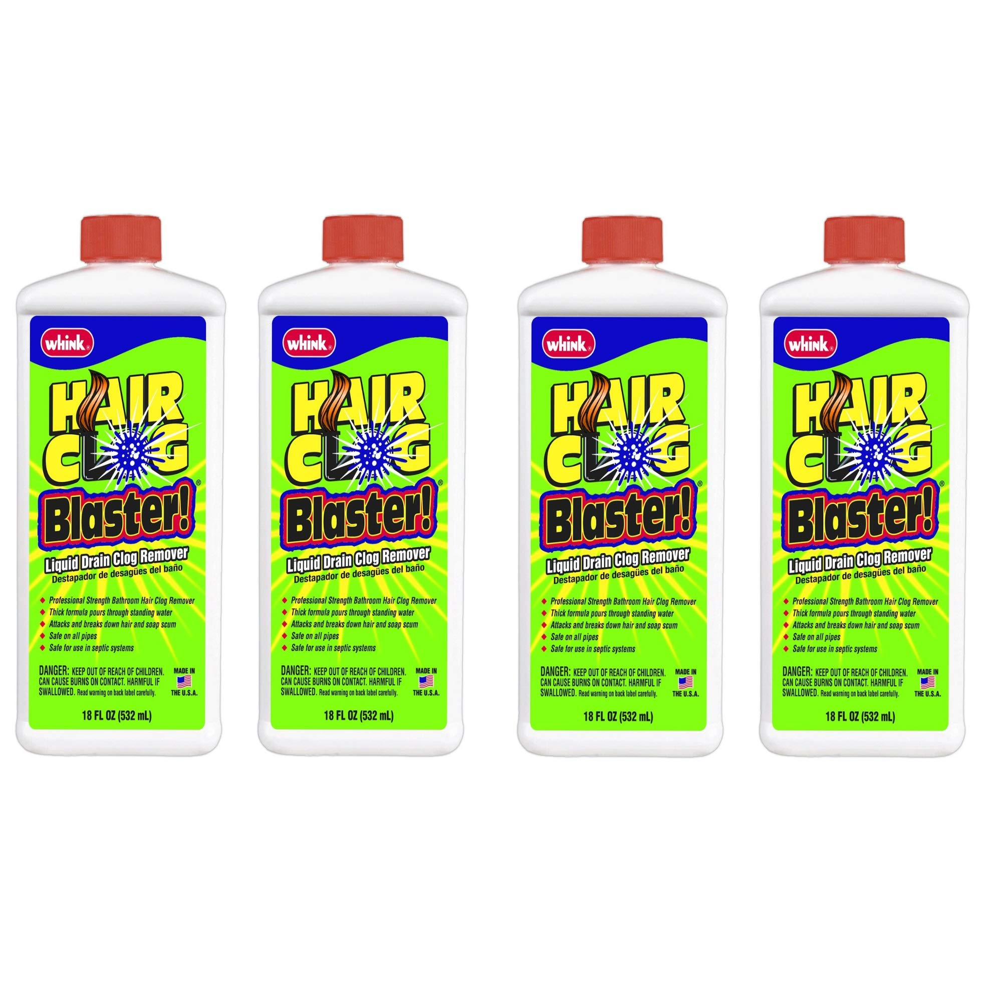 Whink Hair Clog Blaster! 18 Ounce, 4 Pack