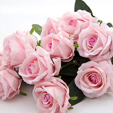 Real Touch Hot Pink Roses Babys Breath Bridal Bouquet Bridesmaids Bouquets Prom Bouquet Wedding Flowers CenterPieces