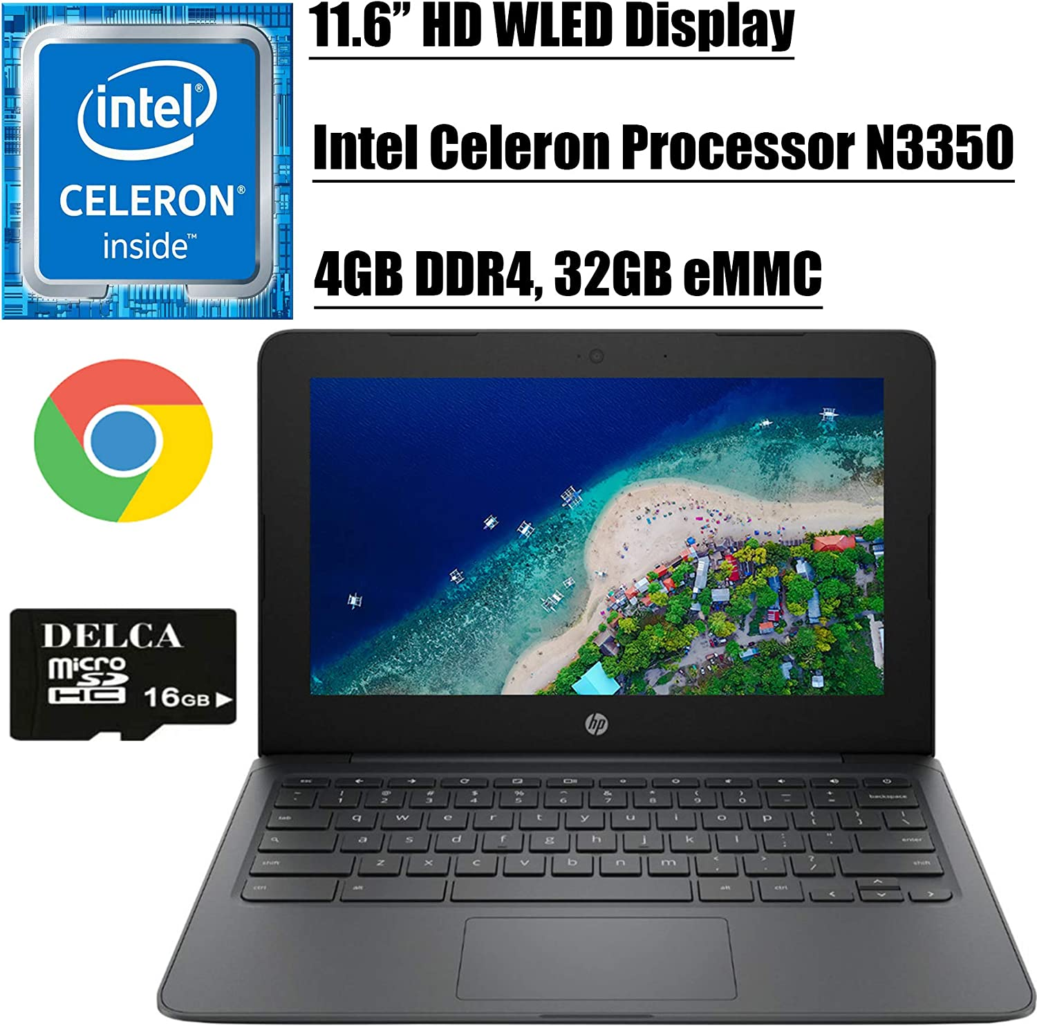 "HP Chromebook 11 2020 Flagship Laptop Computer I 11.6"" HD WLED Display I Intel Celeron Processor N3350 I 4GB DDR4 32GB eMMC I Webcam WiFi Type C Chrome OS + Delca 16GB Micro SD Card"