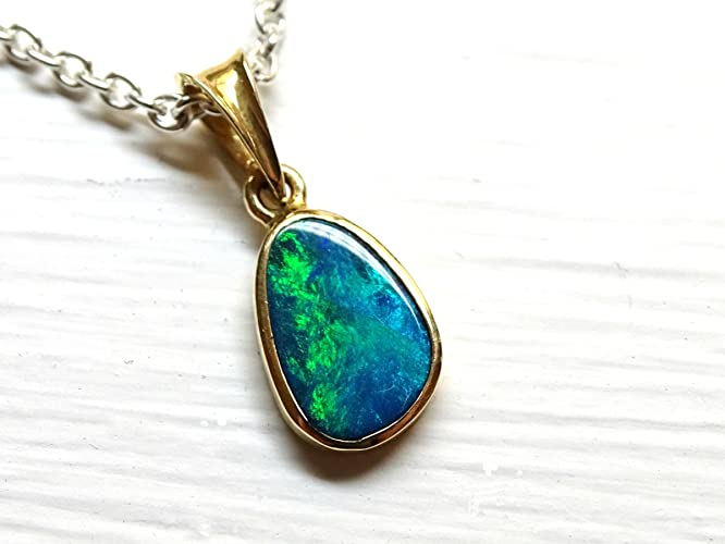 Amazon dainty opal necklace solid 14k gold black opal pendant dainty opal necklace solid 14k gold black opal pendant gold australian opal pendant small aloadofball Image collections