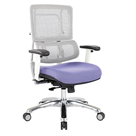 Office Star Breathable White Vertical Mesh Back and Padded Steel Mesh Seat Managers Chair with Adjustable Arms and Polished Aluminum Accents, Violet Seat