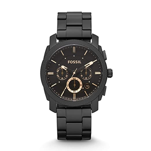 Fossil Mens FS4682 Stainless Steel Analog Black Dial Watch