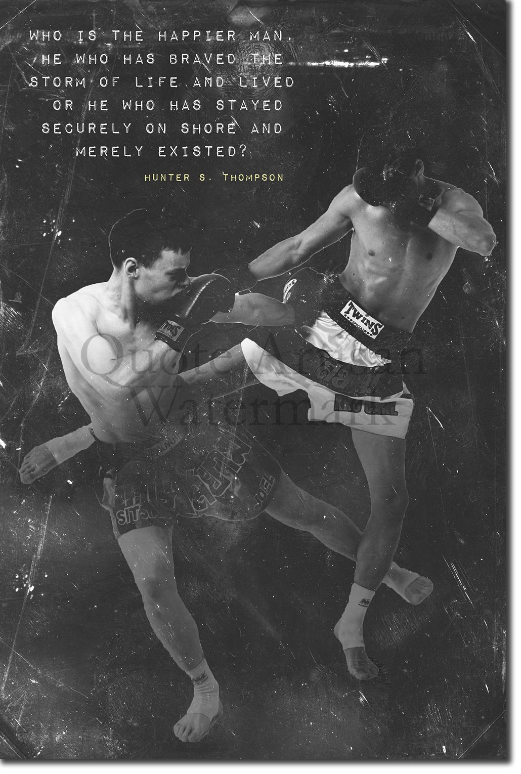 Muay Thai Motivational Poster 01 ''Who is happier'' Photo Print Art Motivation Quote Gift 12x8 Inches Thai Thailand
