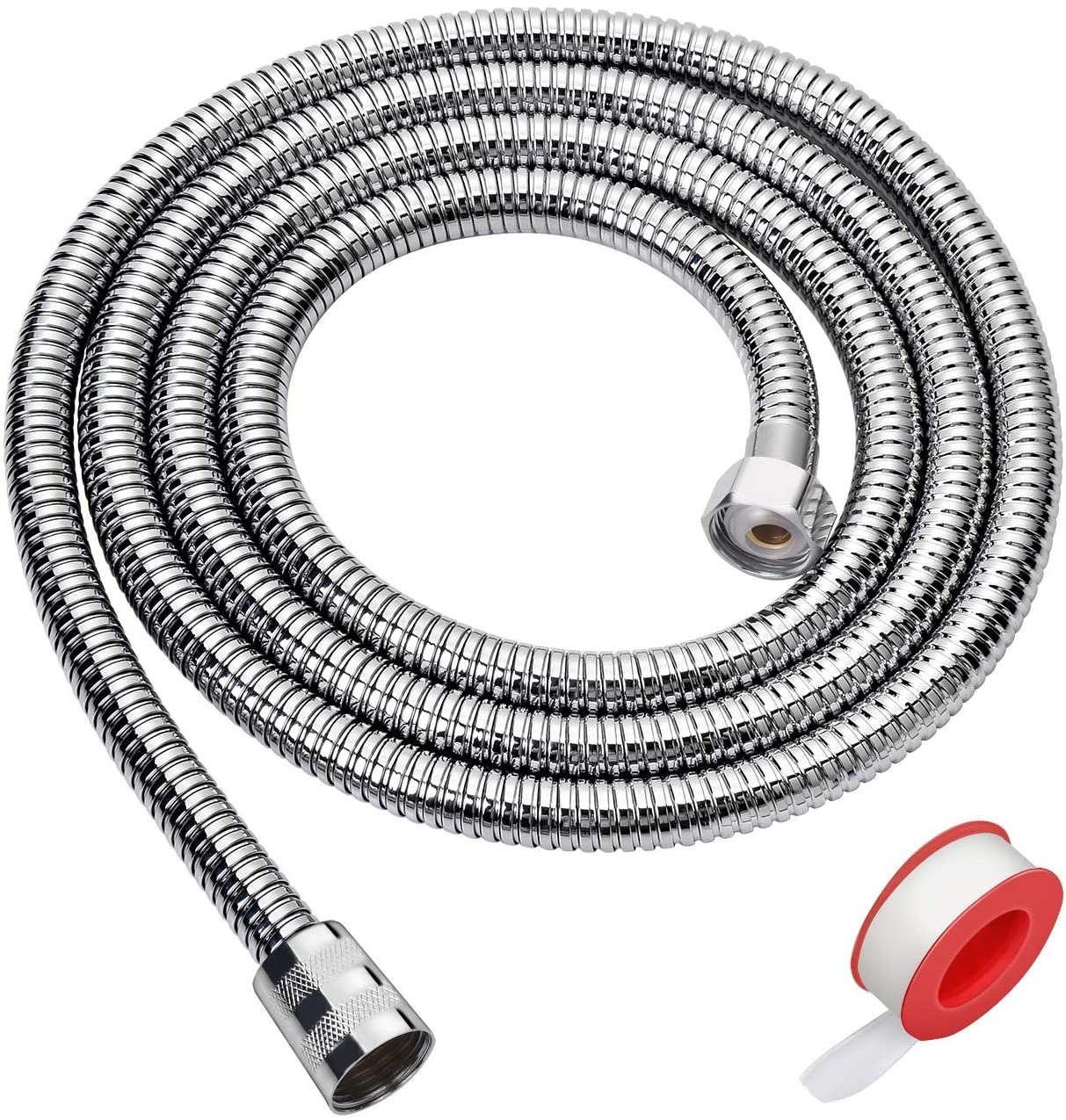 Blissland Shower Hose, 79 Inches Extra Long Chrome Handheld Shower Head Hose with Brass Insert and Nut - Lightweight and Flexible - -