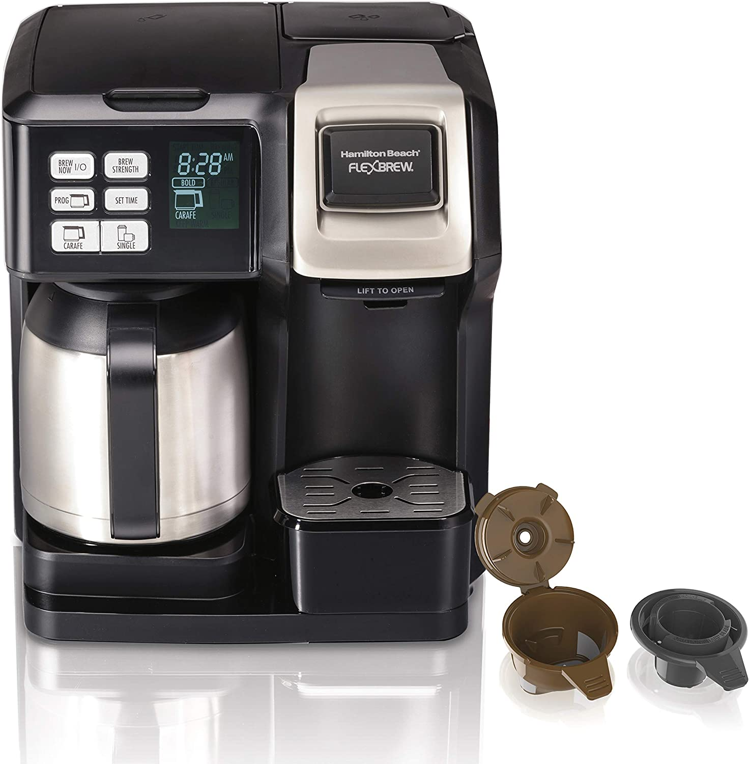 Hamilton Beach FlexBrew Thermal Coffee Maker, Single Serve & Full 10 Cup Pot, Compatible for Pods or Grounds, Programmable, Black and Stainless (49966), (Renewed)