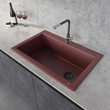 Ruvati 33 X 22 Inch Granite Composite Drop In Topmount Single Bowl Kitchen Sink Carnelian Red Rvg1033rd Amazon Com