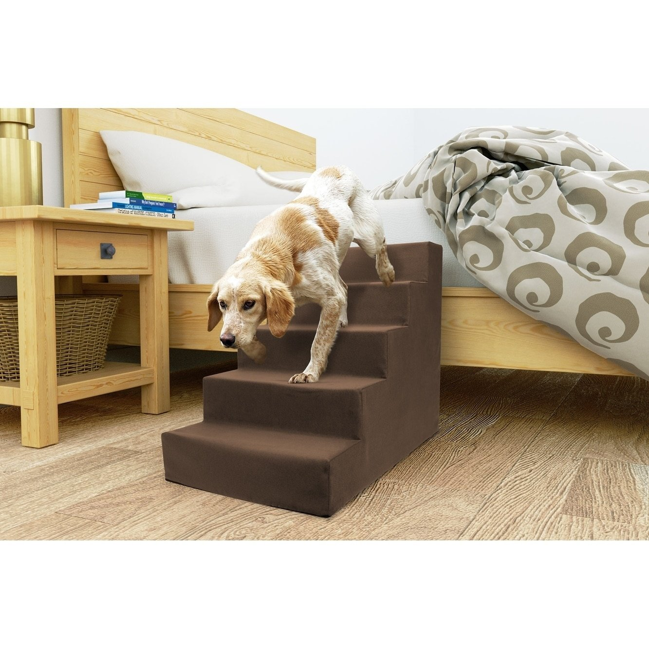 Precious Tails ED2026FSBRN Sherpa High Density Foam Stairs with 5-Steps and Machine Washable Zipper Removable Cover, Brown, 5-Steps
