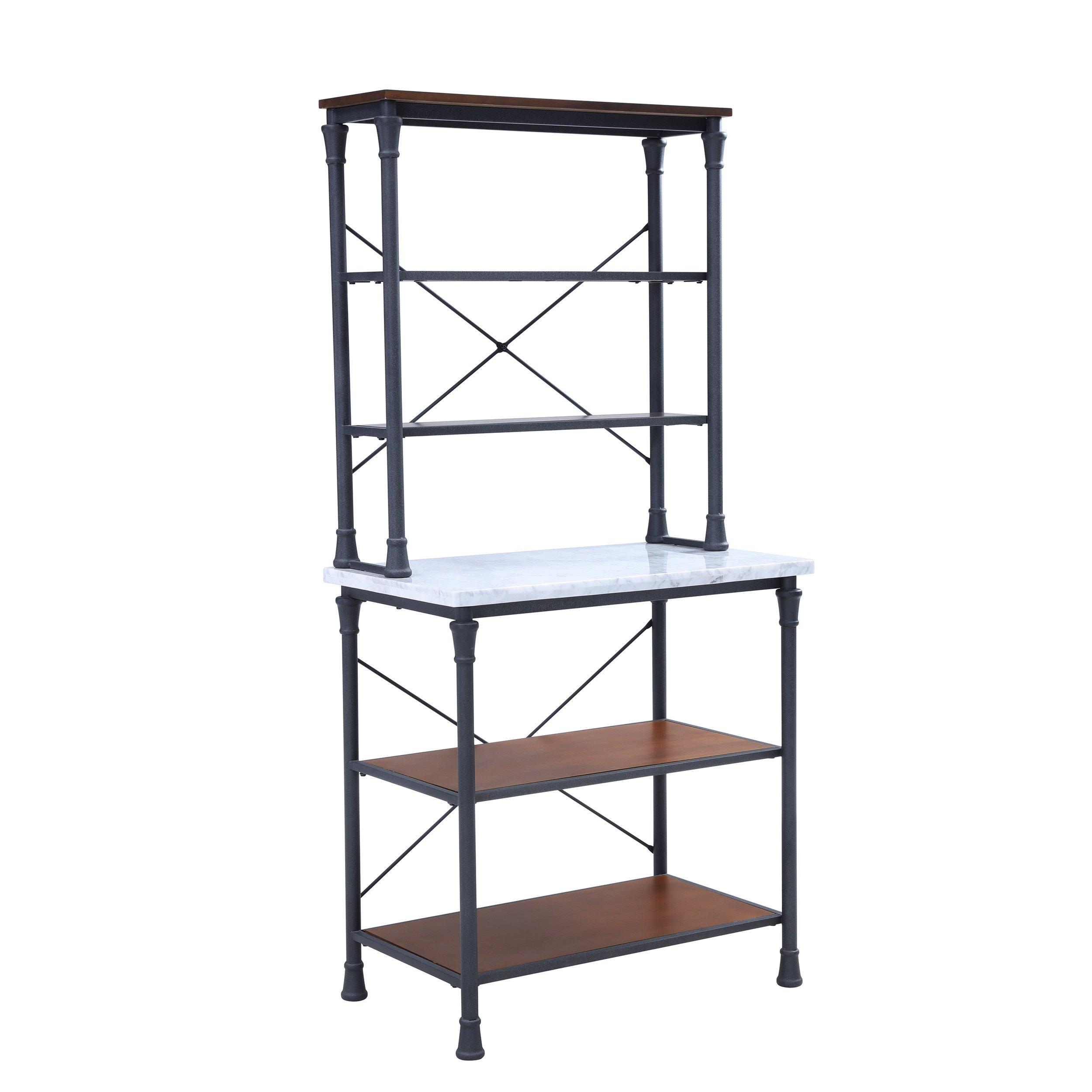Furniture HotSpot Metal Bakers Rack - Industrial Backers Stand - Metal Frame w/Shelves (Black Frame w/Marble Shelf)
