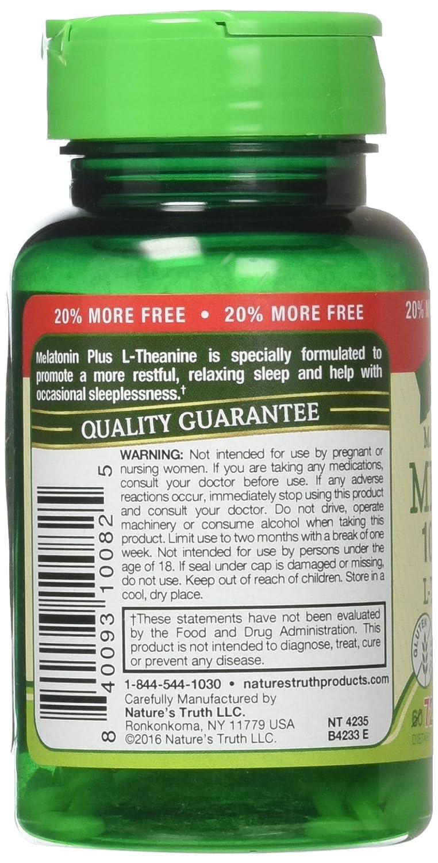 Amazon.com: Natures Truth Maximum Strength Melatonin 10 mg Plus L-Theanine Capsules, 72 Count: Health & Personal Care