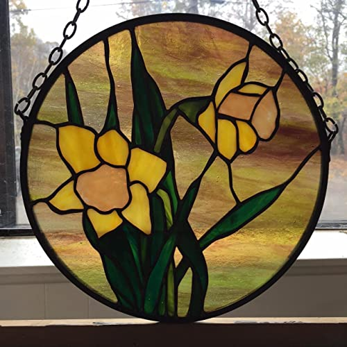 Amazoncom Daffodil Stained Glass Hanging Panel Handmade