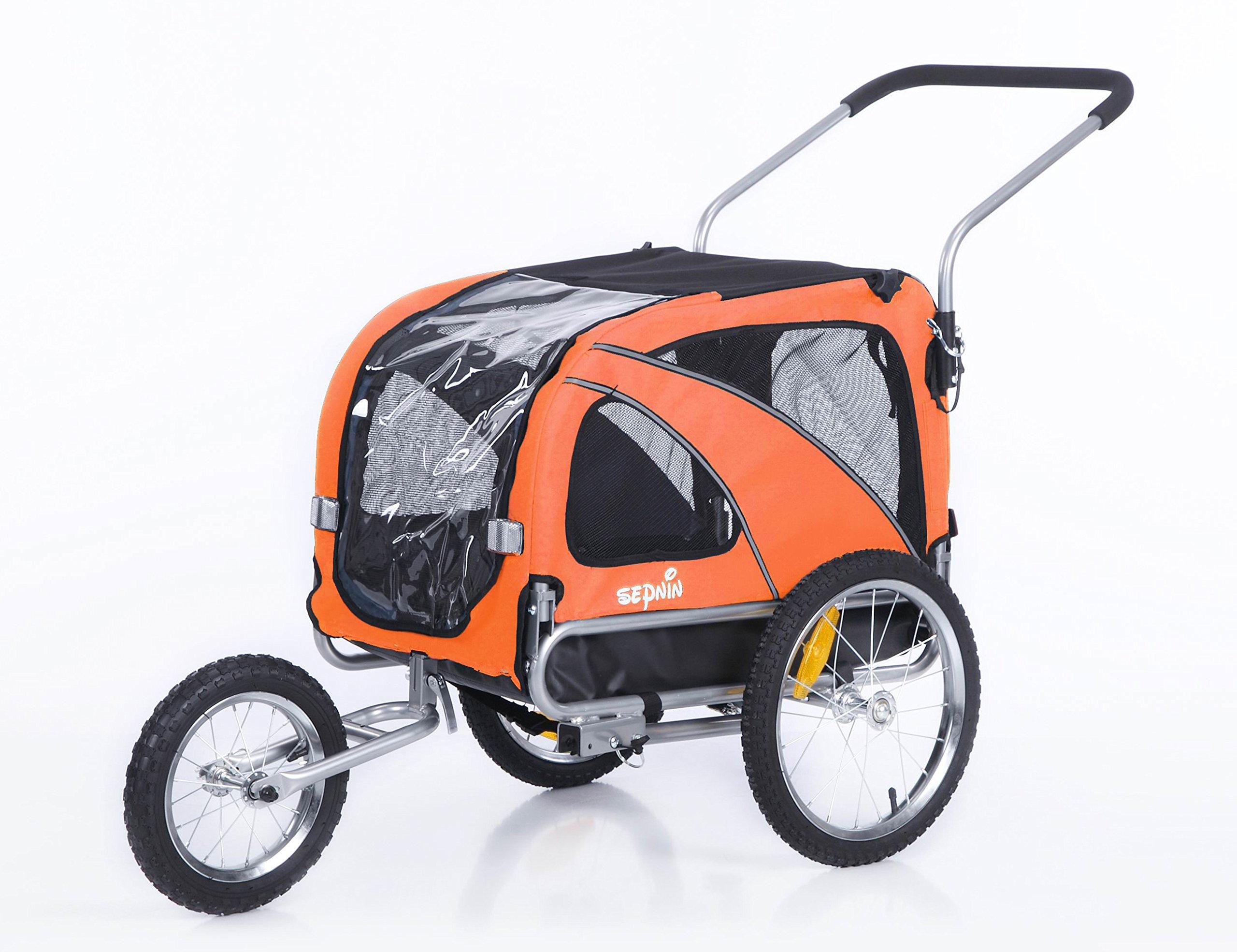Sepnine & Leonpets Dog cart of 2 in1 Medium pet Dog Bike Trailer Bicycle Carrier and Jogger 10201 (Orange) by Sepnine