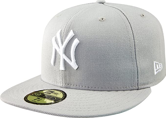 new arrival ab3d6 d2efd MLB New York Yankees Basic 59Fifty Cap, Grey, 7 1 2