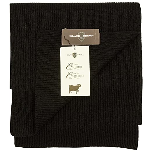9db65905bcd Black brown 100% ribbed knit cashmere scarf in assorted colors (black 0150)  at Amazon Men s Clothing store