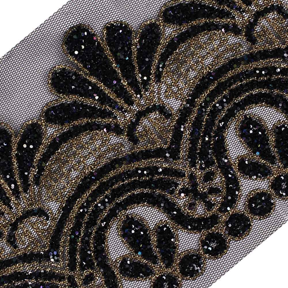 Corded Embroidery Strip Black with Sequin Detail for Dresses//Top Applique 1 yard