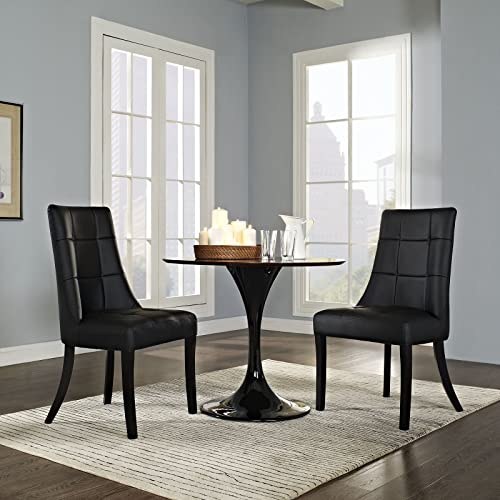 Modway Noblesse Modern Tufted Faux Leather Upholstered Two Kitchen and Dining Room Chairs in Black