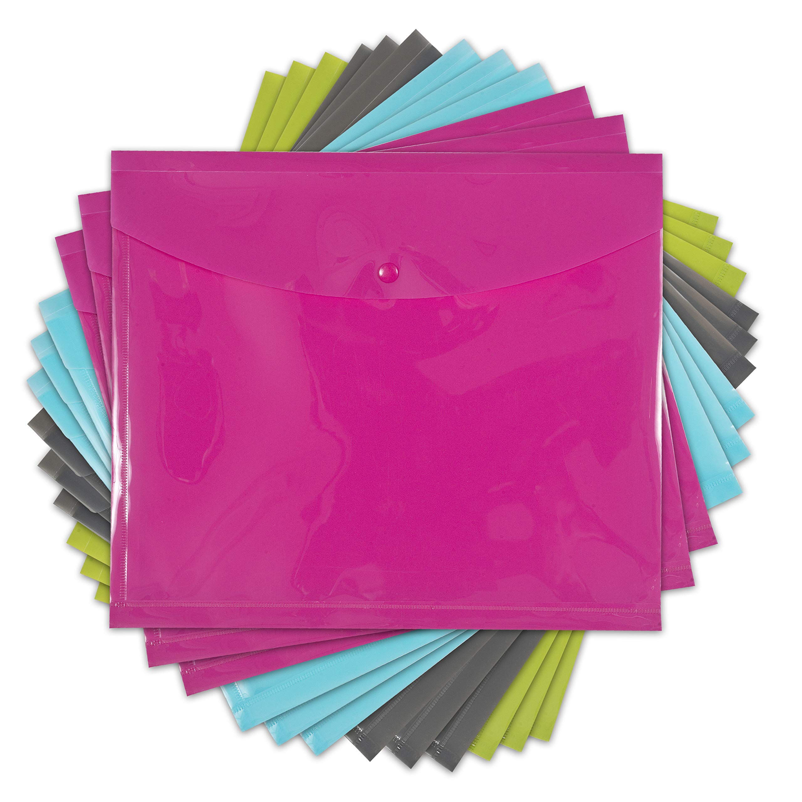 DocIt Reusable Side Open Envelopes with Snap Button Closure, 10'' x 11 3/4'', Assorted 12-Pack, 3 Each of Pink, Blue, Green and Grey (00891-C)