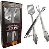 Uncle Jeff's BBQ Pit Professional Grade Tool Set - Heavy Duty Stainless Steel 3 Piece Barbecue Kit Including Over Sized Spatula, Fork and Locking Tongs - Perfect Grilling Set for Outdoor Barbecuing
