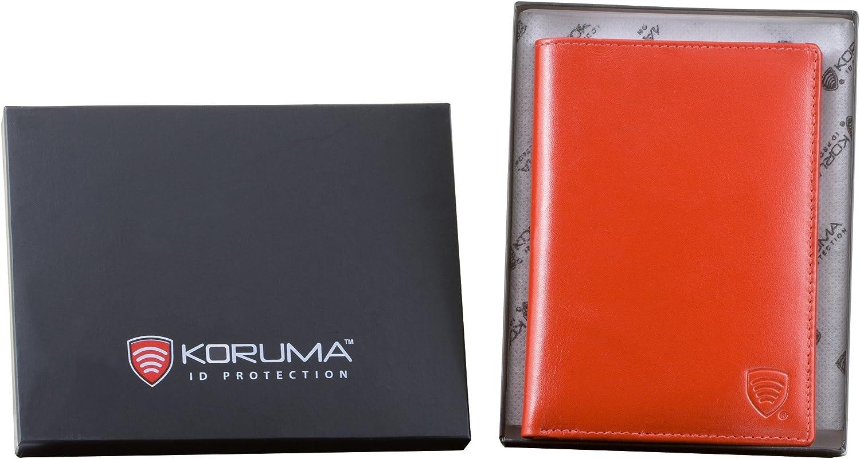 Rouge Portefeuille KORUMA Portefeuille Organiseur bloquant Les signaux RFID des Cartes de cr/édit et du biom/étrique Passeport