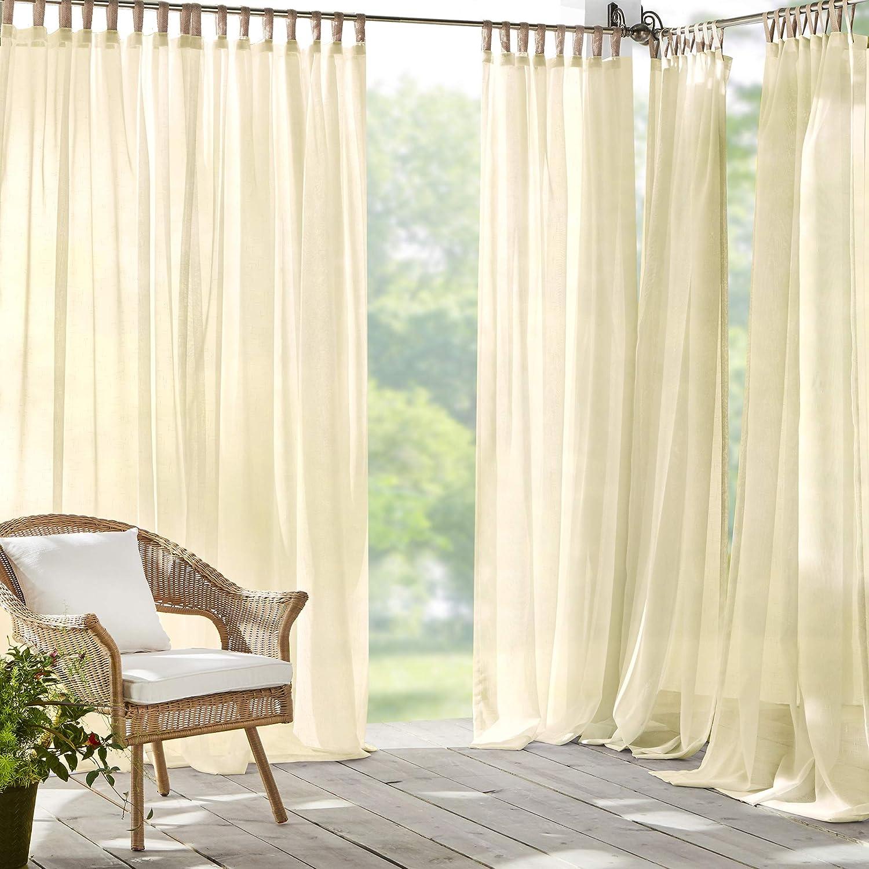 "Elrene Home Fashions Darien Solid Sheer Indoor/Outdoor Adhesive Loop Fastener Tab Top Window Curtain Panel for Patio, Pergola, Porch, Deck, Lanai, and Cabana, 52""x95"" (1, Natural"