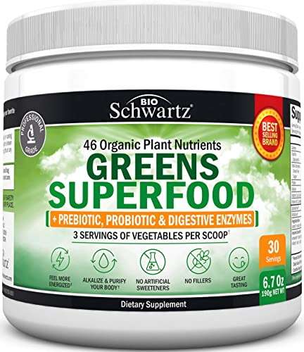 Super Greens Powder – 3 Servings of Veggies per Scoop 45 Organic Green Superfoods Alfalfa, Chlorella, Spirulina More Digestive Enzymes – Keto Friendly Vegan Supplement