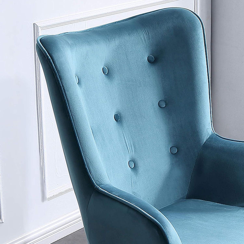 Adec - Voss, Sillon de diseño, butaca de Espera Fija, Patas nórdicas en Madera Color Negro, descalzadora tapizada en Color Verde Aguamarina Medidas: ...