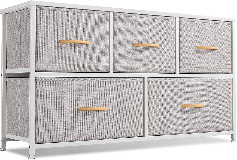 Cubiker Dresser Storage Organizer, 5 Drawer Dresser Tower Unit for Bedroom Hallway Entryway Closets, Small Dresser Clothes Storage with Wide Sturdy Steel Frame Wood Top, Light Grey