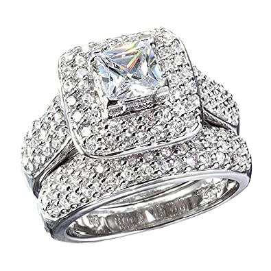 Amazon Com Carffany Princess Cut Cubic Zirconia Ring Set White Gold