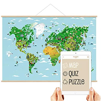 Free Interactive World Map.Mappka Interactive World Map Poster For Kids Augmented Reality