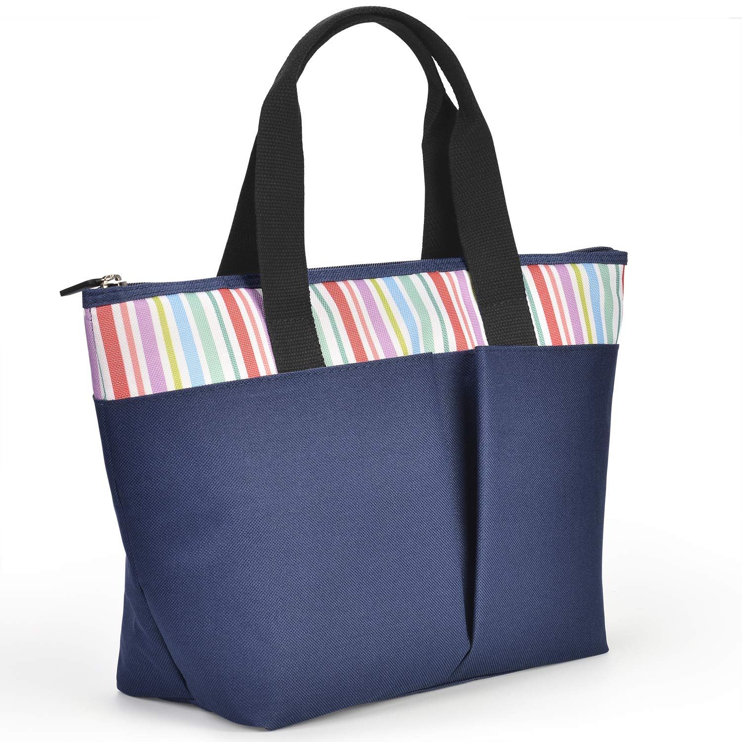 LEADO Insulated Large Lunch Tote Bag for Women Girls Adults, Reusable Lunch Handbag Large Capacity Zippered Meal Prep Cooler Thermal Lunch Box, Striped Navy Blue