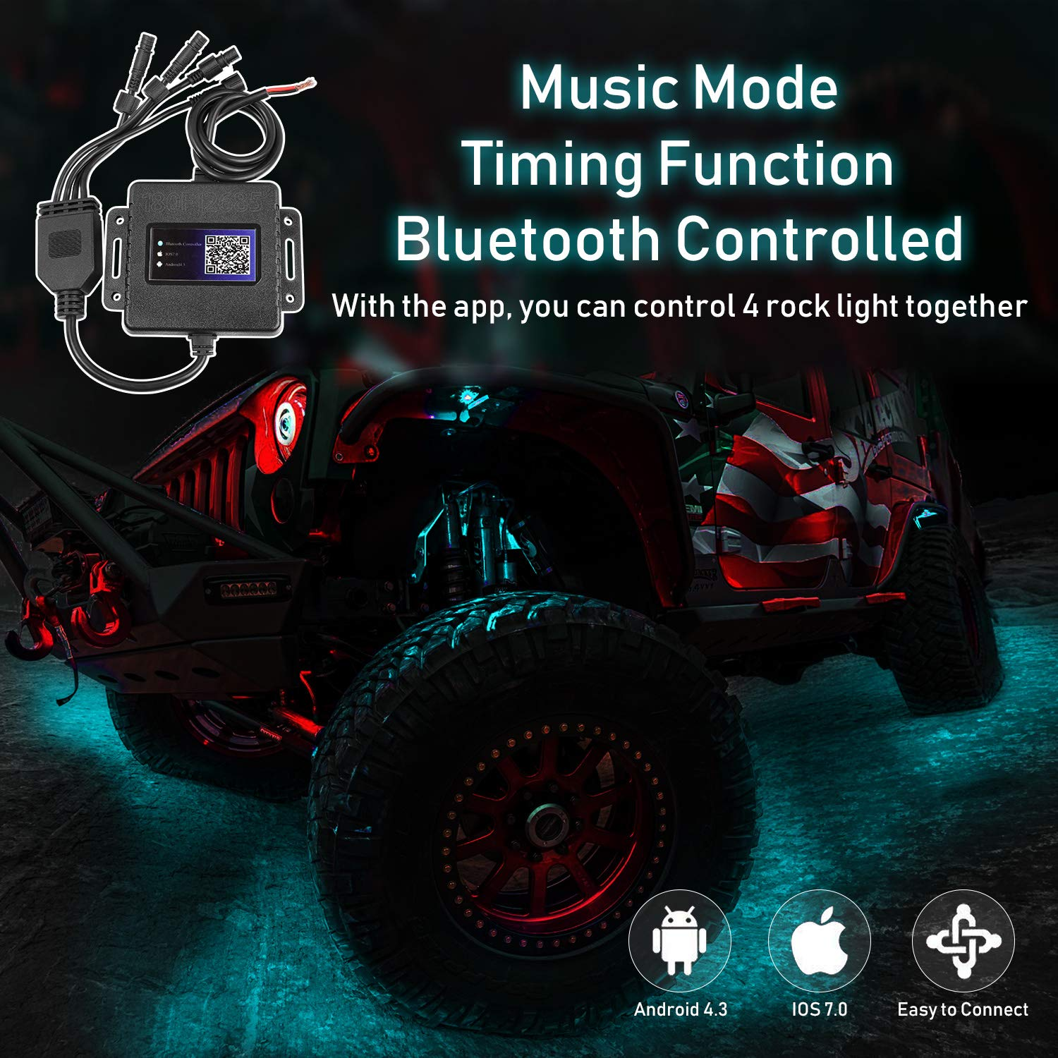 Yvoone-Auto RGB LED Rock Lights Kit 4 Pods Rock Lights with Phone App Control /& Bluetooth Control Music Mode for Underglow Off Road Truck JEEP SUV UTV ATV Boat Motorcycle Timing Flashing