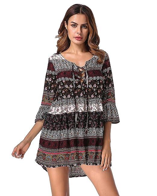 StyleDome Donna Vestito Abito Corto Spiaggia Floreale Mezza Manica Casual  Elegante Etnico Tribale Nero IT 38 a6a2f695936