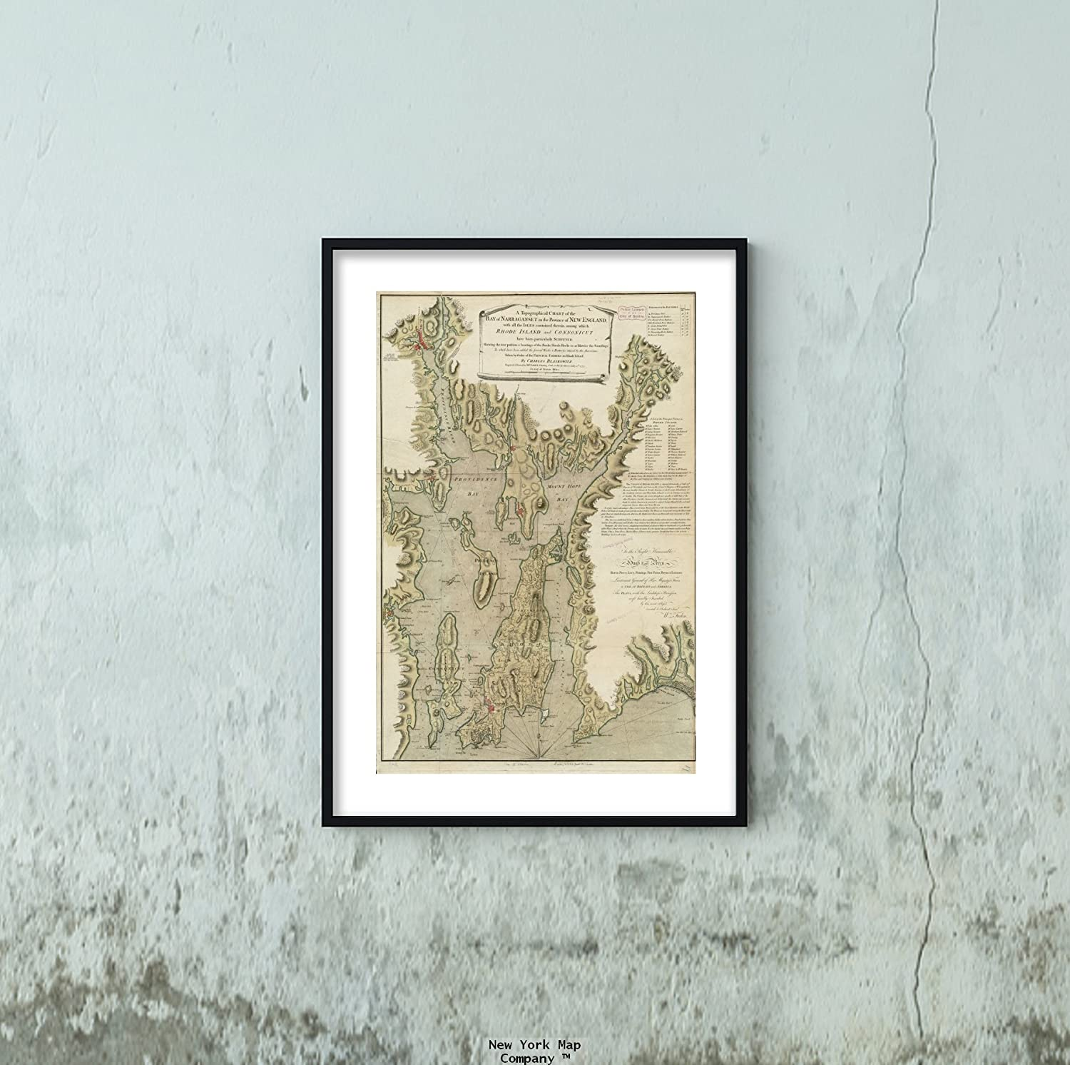 1777 Map Rhode Island|Bristol|Narragansett Bay A Topographical Chart of The Bay of Narraganset i|Vintage Fine Art Reproduction|Ready to Frame