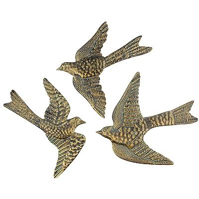 "Large 14"" Metal Birds Decorative Wall/Fence Plaques Brass Verdigris Garden Art Sculptures - Set of 3: Home & Kitchen"