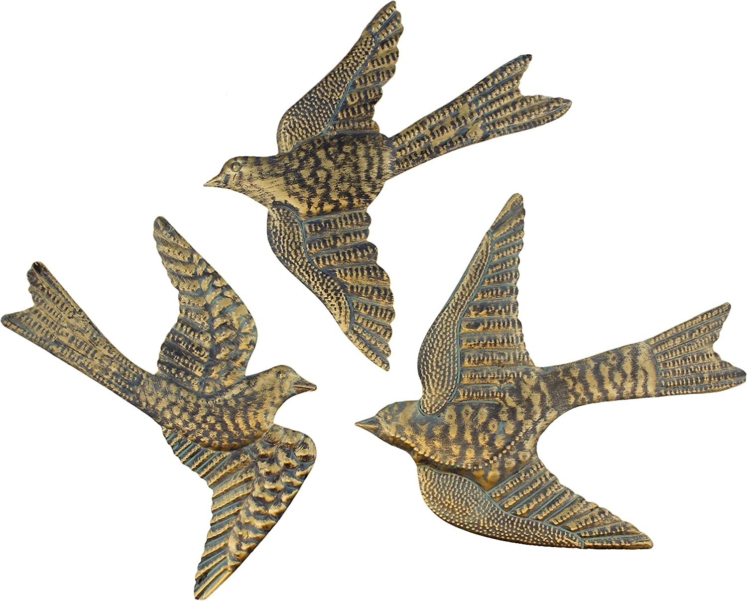 "Large 14"" Metal Birds Decorative Wall/Fence Plaques Brass Verdigris Garden Art Sculptures - Set of 3"