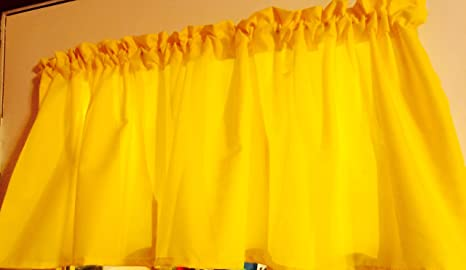 SUNSHINE YELLOW Window Curtain Valance made from Solid Bright Neon Cotton  fabric