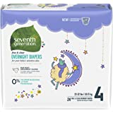 Seventh Generation Baby Overnight Diapers, Free & Clear, Stage 4, 22-32lbs, 96 count (Packaging May Vary)