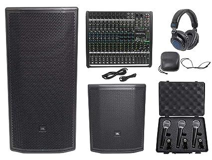 "2cf599c3fd7 Amazon.com: JBL Pro PRX835XW 15"" 3-Way 1500w Active Speaker+Sub+Mackie Mixer +Headphones+Mics: Musical Instruments"