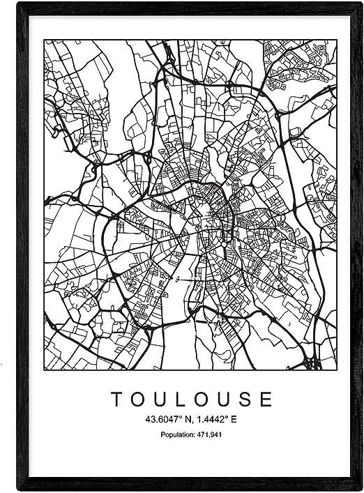 Nacnic Imprimer Plan de la Ville de Toulouse Style Nordique Noir et Blanc.  Cadre d\'affichage A4 Papier imprimé No 250 GR. Peintures, estampes et ...