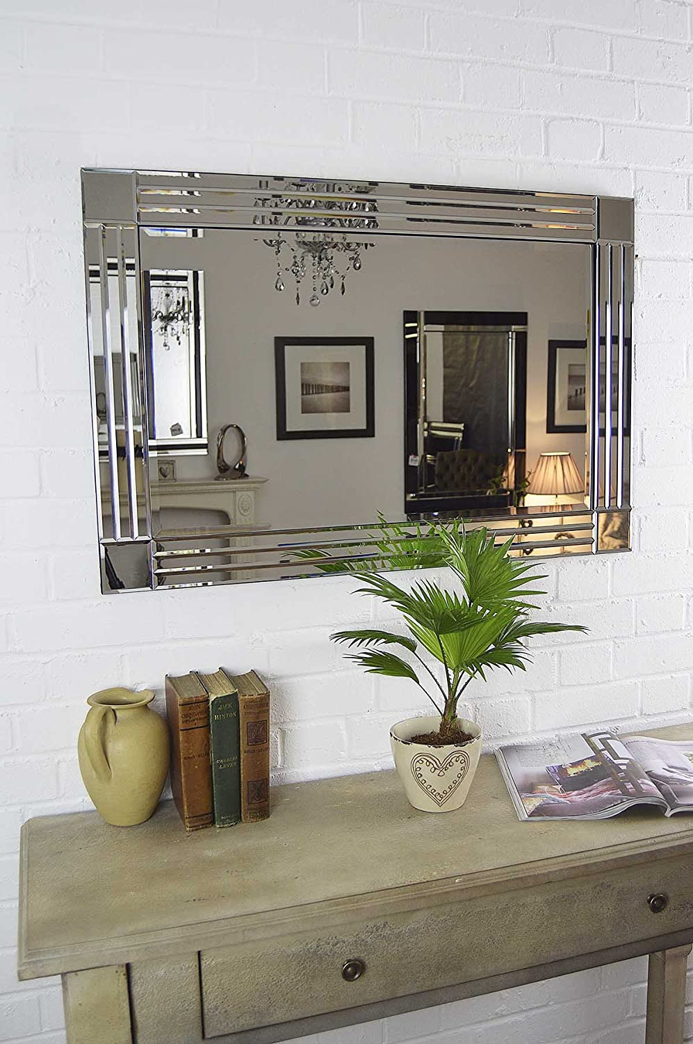 Silver Triple Bevelled Venetian Wall Mirror 3Ft X 2Ft 91cm 61cm Amazoncouk Kitchen Home