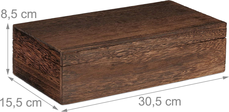 80 bolsitas de t/é con Tapa 8,5x30x5x15,5 cm Marr/ón Ocho Compartimentos Madera Relaxdays Caja infusiones